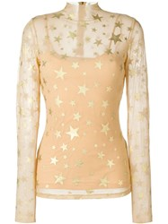 Manish Arora Star Print Sheer Blouse Nude And Neutrals
