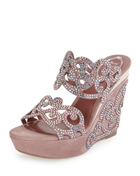 Suede And Strass Wedge Sandal Blush Rene Caovilla