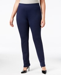 Inc International Concepts Plus Size Ponte Pull On Skinny Pants Only At Macy's Deep Twilight