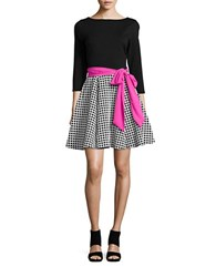 Eliza J Windowpane Skirt Flared Dress Black Multi