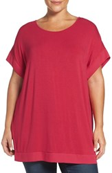 Sejour Plus Size Women's Chiffon Trim Tunic Red Barberry