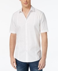 Alfani Men's Texture Check Short Sleeve Slim Fit Shirt Only At Macy's Bright White