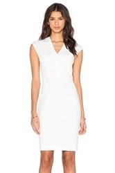Vince V Neck Bib Sheath Dress White
