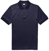 Brioni Jacquard Knit Cotton And Silk Blend Polo Shirt Blue