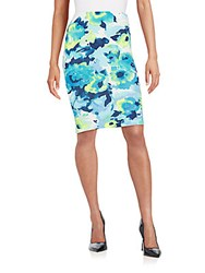 Saks Fifth Avenue Red Watercolor Floral Print Scuba Pencil Skirt Blue