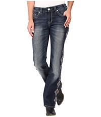 Rock And Roll Cowgirl Mid Rise Bootcut In Dark Vintage W1 8472 Dark Vintage Women's Jeans Navy