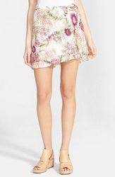 Haute Hippie Floral Print Double Layer Silk Skirt Wild Flower