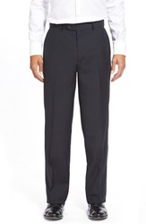 Men's Big And Tall Linea Naturale 'Tic Weave' Super 100S Wool Trousers Midnight
