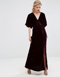 Asos Velvet Maxi Dress With Button Detail Wine Red