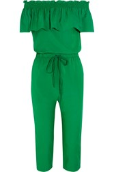 Clu Off The Shoulder Ruffled Silk And Cotton Blend Jumpsuit Green