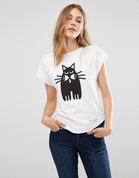 People Tree X Peter Jensen Organic Cotton T Shirt With Cat Print White