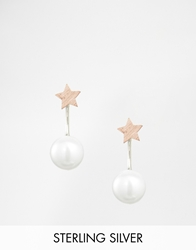 Asos Limited Edition Sterling Silver Star Swing Earrings With Faux Pearl Multi