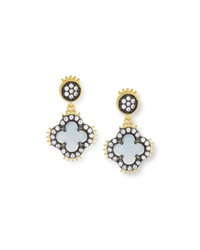 Freida Rothman Two Tone Clover Spike Drop Earrings
