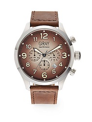 Saks Fifth Avenue Ombre Stainless Steel And Leather Watch Brown