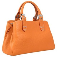 Fontanelli Soft Calf Leather Satchel Bag Orange