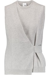 Iris And Ink Azura Draped Slub Cashmere Tank Light Gray
