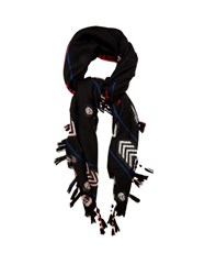 Alexander Mcqueen Arrow And Skull Jacquard Wool Scarf Black Multi
