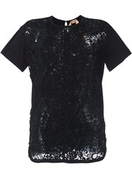 N 21 No21 Floral Lace Panel T Shirt Black