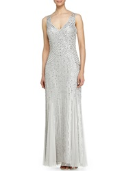 Aidan Mattox Sleeveless V Neck Beaded Gown W Godet Skirt Silver