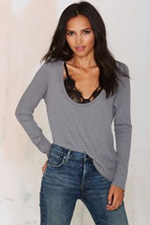 Nasty Gal New Low Waffle Top Gray