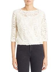Marina Sequined Lace Crop Top Ivory