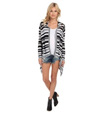 Bcbgeneration Stripe Hooded Cardi Wrap Ngc4h991 Black Combo Women's Sweater