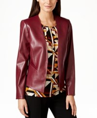 Tahari By Arthur S. Levine Tahari Asl Faux Leather Jacket
