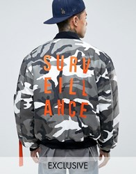 Reclaimed Vintage Camo Bomber Jacket With Back Print Black