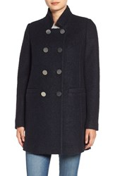 Tahari Women's 'Harper' Double Breasted Boucle Coat Navy