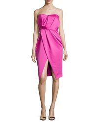 Camilla And Marc Strapless Pleated Sweetheart Cocktail Dress Hot Pink Women's