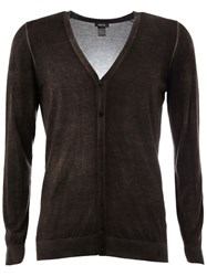 Avant Toi Faded Effect V Neck Cardigan Brown