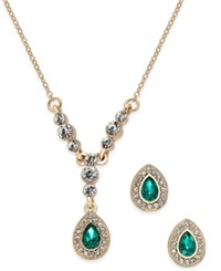 Charter Club Gold Tone Green Stone Teardrop Pendant Necklace And Stud Earrings Set Only At Macy's