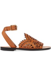 Chloe Laser Cut Leather Sandals Tan