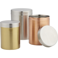 3 Piece Mixed Metal Canister Set Cb2