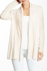 My Tribe Perforated Leather Sleeve Silk Blend Cardigan Beige