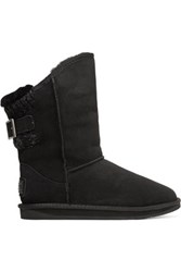 Australia Luxe Collective Spartan Ribbed Trimmed Shearling Boots Black