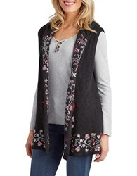 Democracy Open Front Embroidered Hooded Vest Black