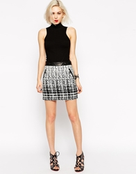 L.A.M.B. L.A.M.B Black And White Jacquard Mini Skirt Whiteblack