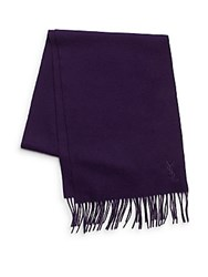 Yves Saint Laurent Wool And Cashmere Scarf Purple