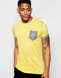 Firetrap Burnout Crew Neck T Shirt With Pocket And Roll Sleeves Brown
