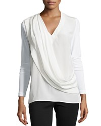 Nicole Miller Artelier Petite Liam Enzyme Washed Silk Draped Top Ivory
