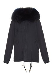 Mr And Mrs Italy Fur Lined Canvas Mini Parka Navy