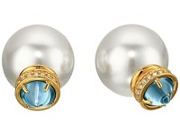 Rebecca Minkoff Crystal Pearl Back Earrings 16 Gold Aqua Pearl Earring White