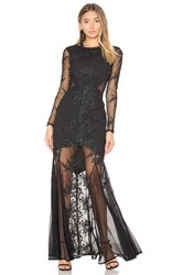 Donna Mizani Embroidered Mermaid Gown Black