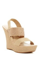 Italian Shoemakers Microstud Wedge Sandal Beige