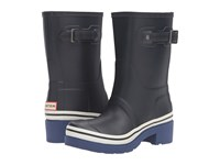 Hunter Original Ankle Boot Buoy Stripes Navy Deep Cobalt White Women's Boots Black