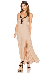 Aila Blue Jelita Halter Maxi Dress Taupe