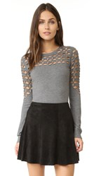 Milly Lattice Stitch Pullover Grey