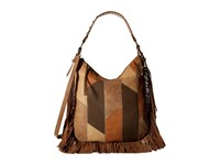 Jessica Simpson Delilah Crossbody Hobo Patchwork Neutral Multi Hobo Handbags Brown