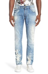 Men's Just Cavalli Distressed Bleached Slim Fit Jeans Blue